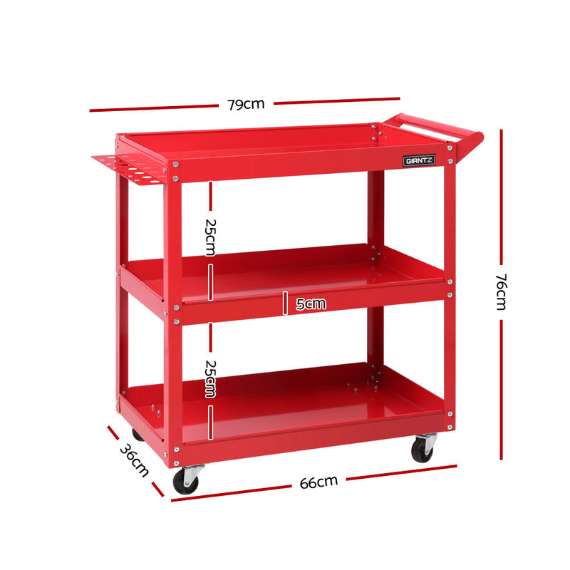 Giantz Tool Cart 3 Tier Parts Steel Trolley Mechanic Storage Organizer Red - Sale Now