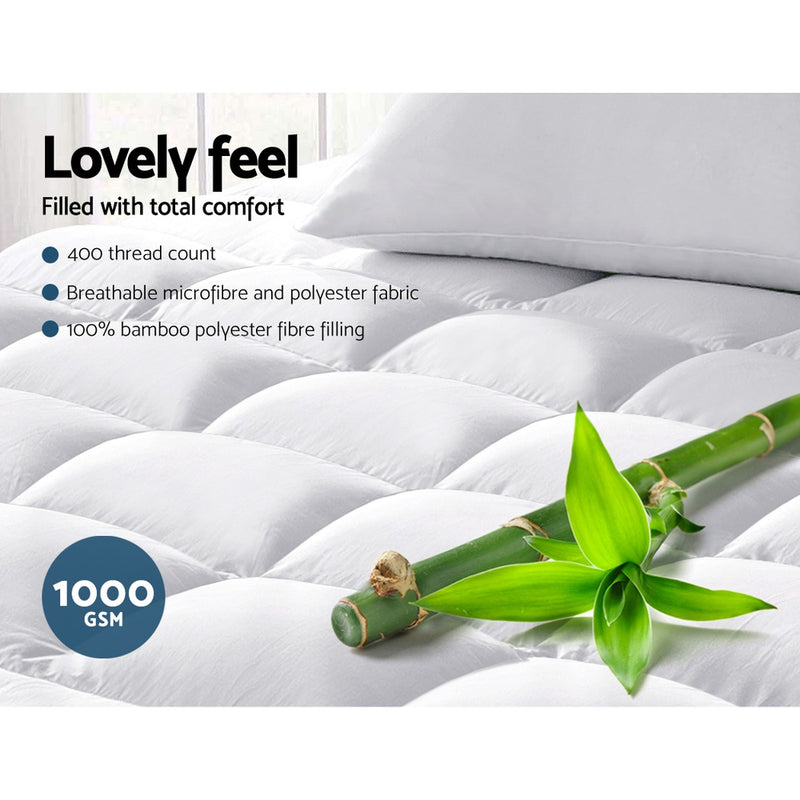 Giselle King Single Mattress Topper Bamboo Fibre Pillowtop Protector
