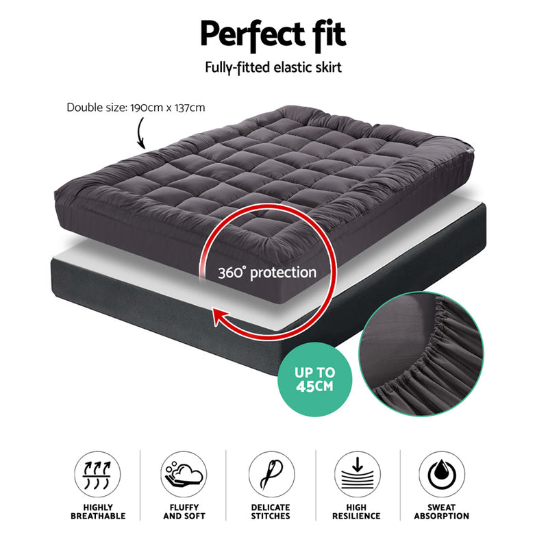 Giselle Double Mattress Topper Pillowtop 1000GSM Charcoal Microfibre Bamboo Fibre Filling Protector