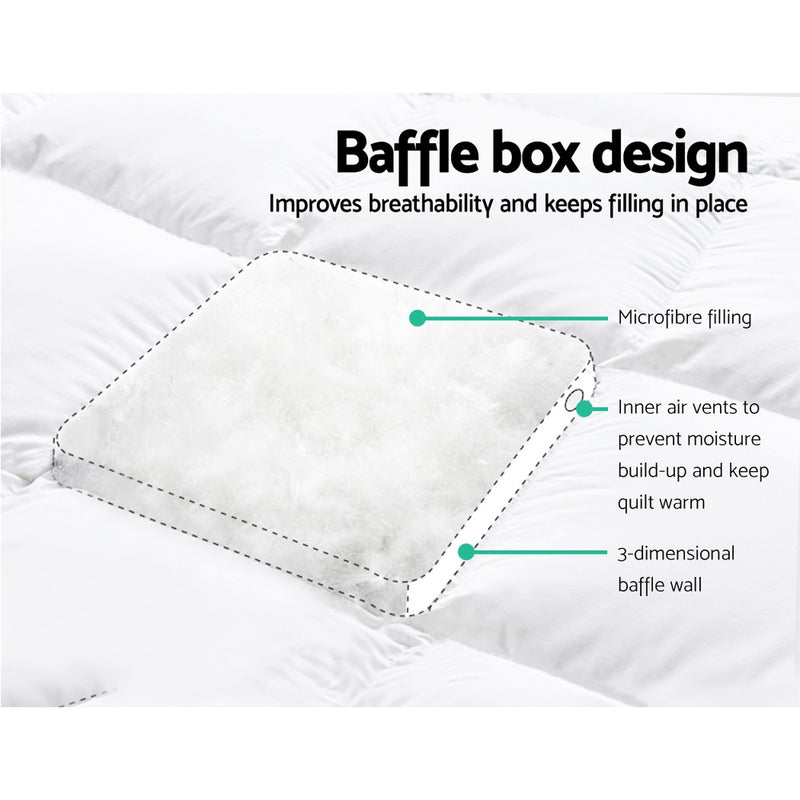 Giselle King Mattress Topper Pillowtop 1000GSM Microfibre Filling Protector