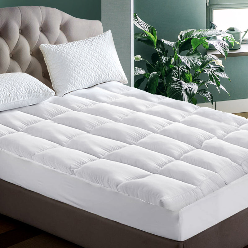 Giselle King Single Mattress Topper Pillowtop 1000GSM Microfibre Filling Protector - Sale Now