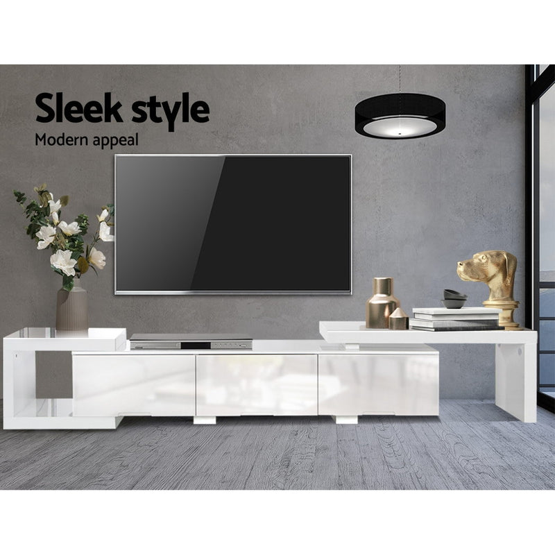 Artiss High Gloss Adjustable TV Stand Entertainment Unit - White - Sale Now