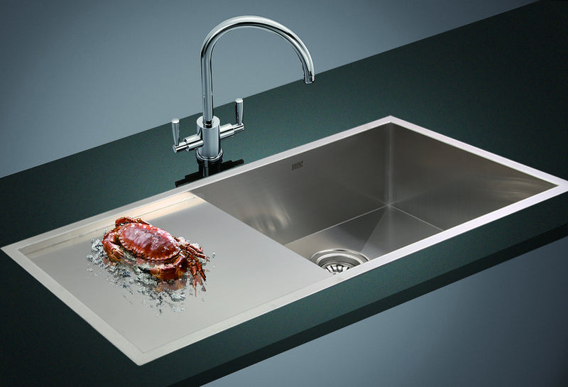 960x450mm Handmade Stainless Steel Undermount / Topmount Kitchen Sink with Waste - Sale Now