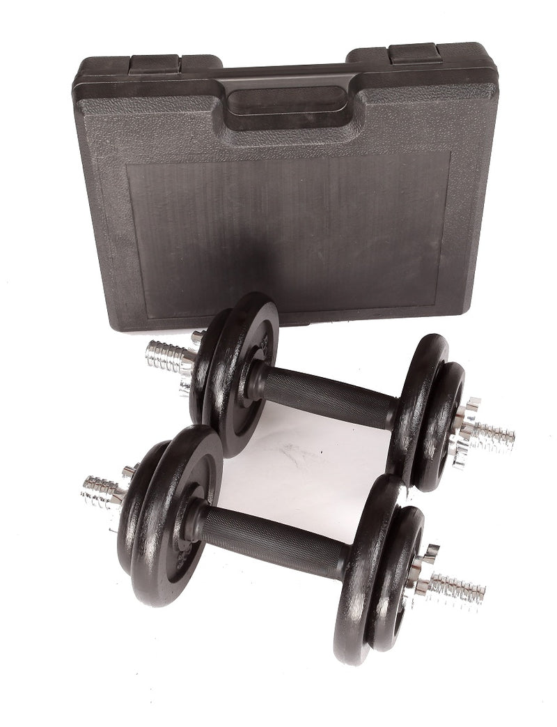 20kg Black Dumbbell Set with Carrying Case - Sale Now