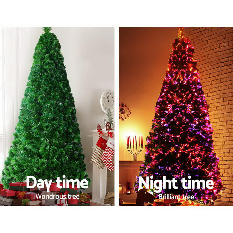 Jingle Jollys 2.4M 8FT LED Christmas Tree Xmas Optic Fiber Multi Colour Lights - Sale Now