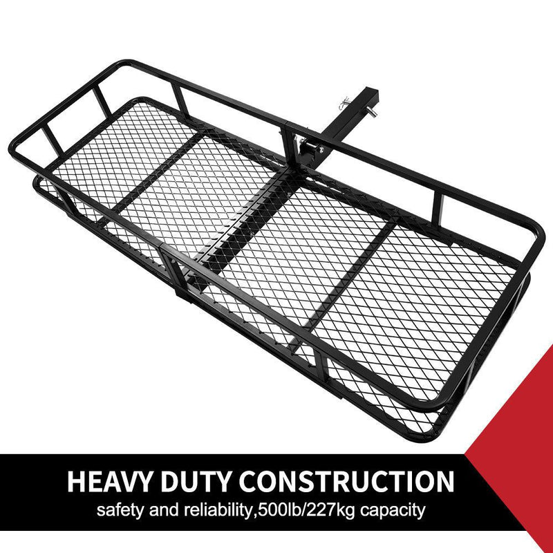 Cargo Carrier Luggage Basket Car Rack Foldable Hitch Mount Steel Mesh 4WD - Sale Now