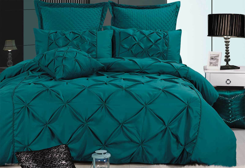 King Size Fantine Teal Diamond Pintuck Quilt Cover Set(3PCS)