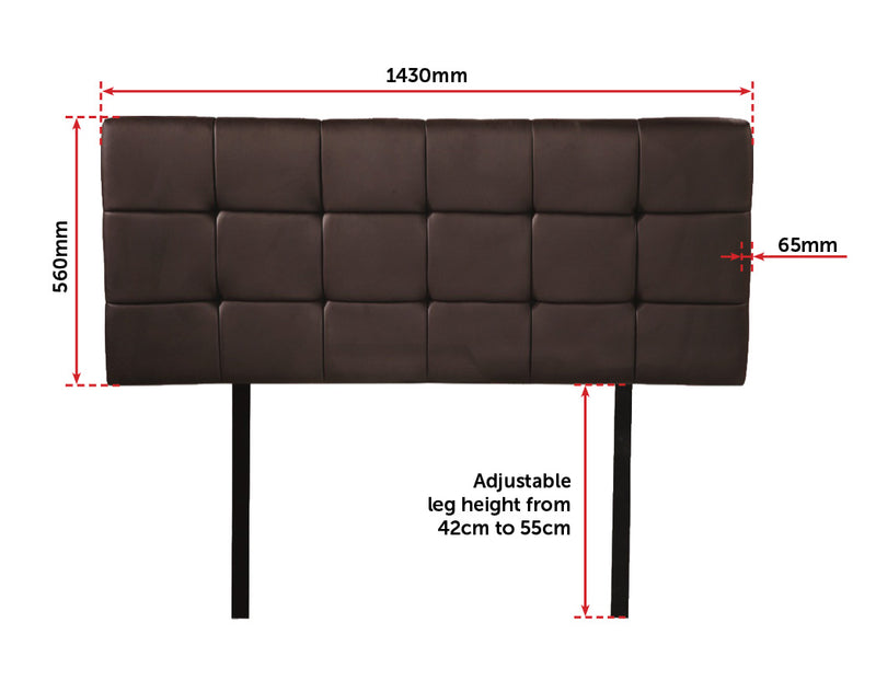 PU Leather Double Bed Deluxe Headboard Bedhead - Brown - Sale Now