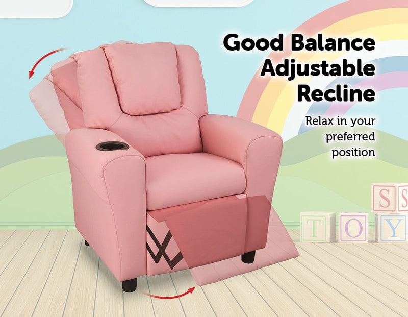 PU Leather Kids Recliner with Drink Holder - Sale Now