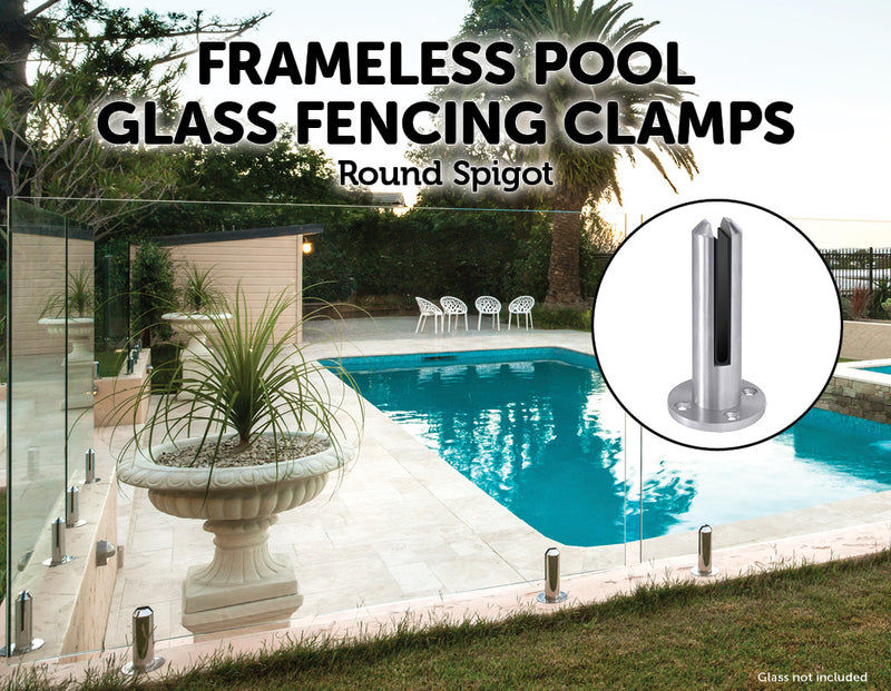 Frameless Pool Glass Fencing Clamps Spigots - Sale Now