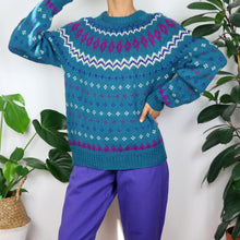 Load image into Gallery viewer, Hand-Knitted Icelandic Turquoise Jumper
