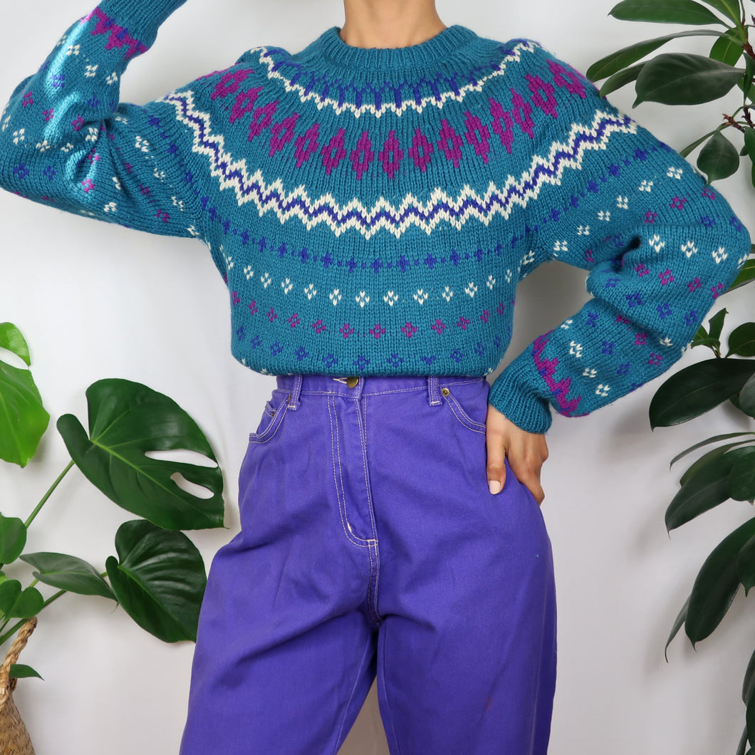 Hand-Knitted Icelandic Turquoise Jumper