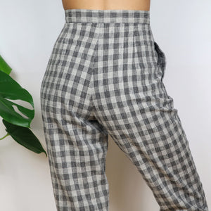 Grey Check Trousers 27W