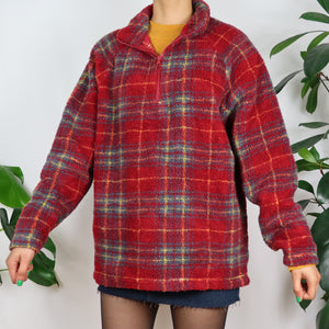 Cranberry Red Tartan Quarter Zip Fleece