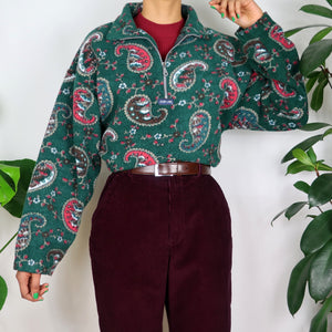 Forest Green Paisley Patterned Fleece