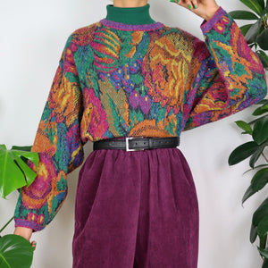 Rainbow Floral Knitted Jumper
