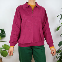 Load image into Gallery viewer, Burgundy Floral Quarter Zip Sweater