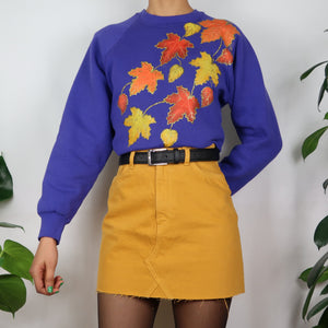 Golden Leaves Embroidered Sweatshirt