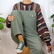 Load image into Gallery viewer, Khaki Green Cotton Dungarees