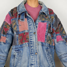 Load image into Gallery viewer, Pink Corduroy Patchwork Denim Jacket