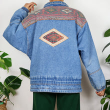 Load image into Gallery viewer, Aztec Printed Denim Jacket