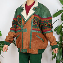 Load image into Gallery viewer, Tan & Green Suede Patchwork Jacket