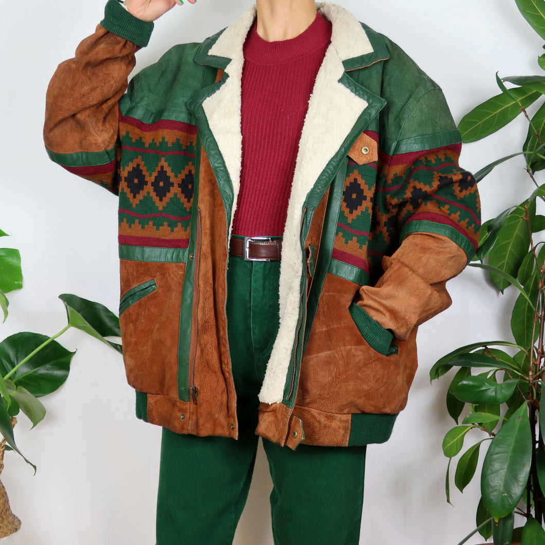 Tan & Green Suede Patchwork Jacket