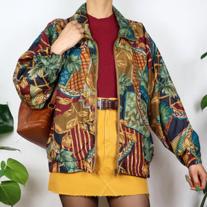 Earthy Patchwork Print Shell Jacket