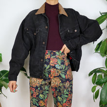 Load image into Gallery viewer, Leather Collared Black Denim Jacket