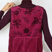 Load image into Gallery viewer, Burgundy Chunky Cord Pinafore