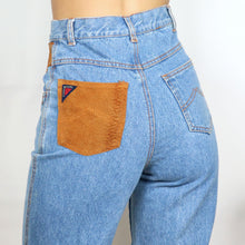 Load image into Gallery viewer, Tan Suede Patchwork Denim Jeans W26