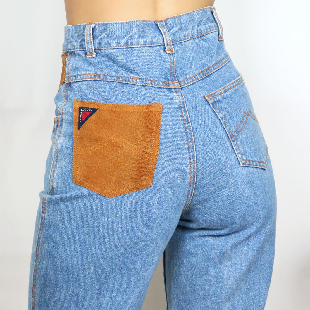 Tan Suede Patchwork Denim Jeans W26