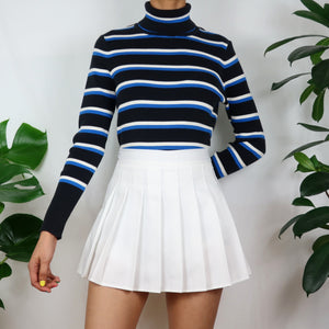 Popcorn Stripe Turtleneck