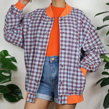 Load image into Gallery viewer, Orange & Blue Check Bomber Jacket