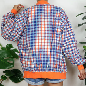 Orange & Blue Check Bomber Jacket