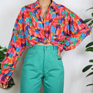 Artsy Patchwork Silk Shirt