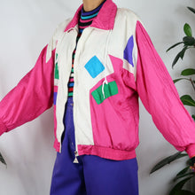 Load image into Gallery viewer, Tetris Pink Colour Block Shell Jacket