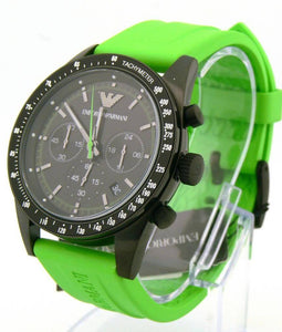 Emporio Armani Watch, Men's Chronograph Tazio Green Rubber Strap AR6115