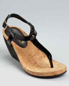 Ralph Lauren: Black Rosalia Wedge Sandals