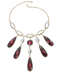 Gold-Tone Ruby Cabochon Frontal Necklace