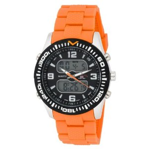 U.S. Polo Assn. US9039 Black Dial Orange Rubber Strap Men's Analog-Digital Sports Watch