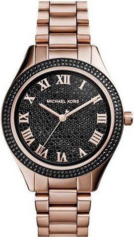 Michael Kors MK3320 Women's Blake Black Pavé Dial Rose Gold Tone Stainless Steel Bracelet Watch