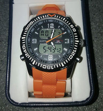 Load image into Gallery viewer, U.S. Polo Assn. US9039 Black Dial Orange Rubber Strap Men's Analog-Digital Sports Watch