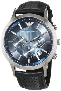 Emporio Armani Men's AR2473 Classic Chronograph Blue Dial Navy Leather Strap Watch