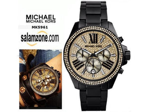 Michael Kors MK5961 Wren Black Stainless Gold Dial Ladies' Chronograph Watch
