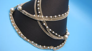Faux Pearl Gold-Tone Detailed Necklace