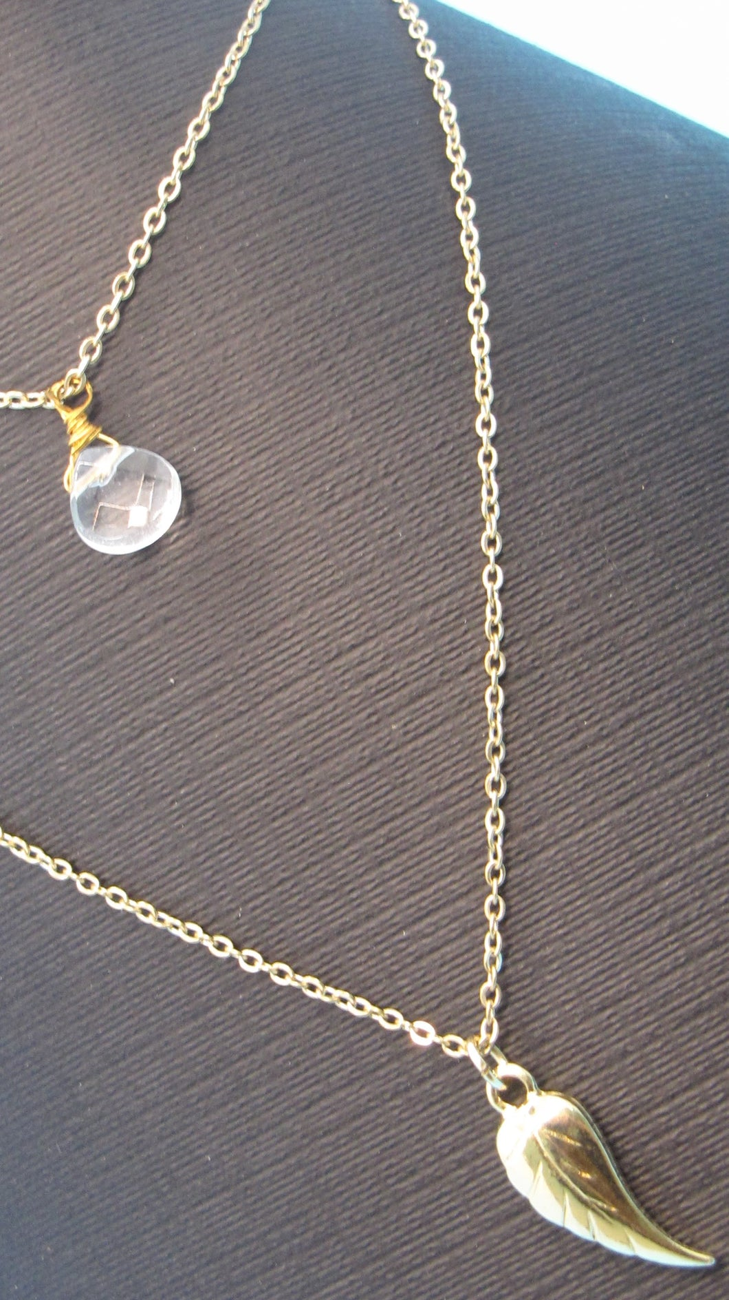 Solid Stone With Gold Leaf Layered Chain-Rachel