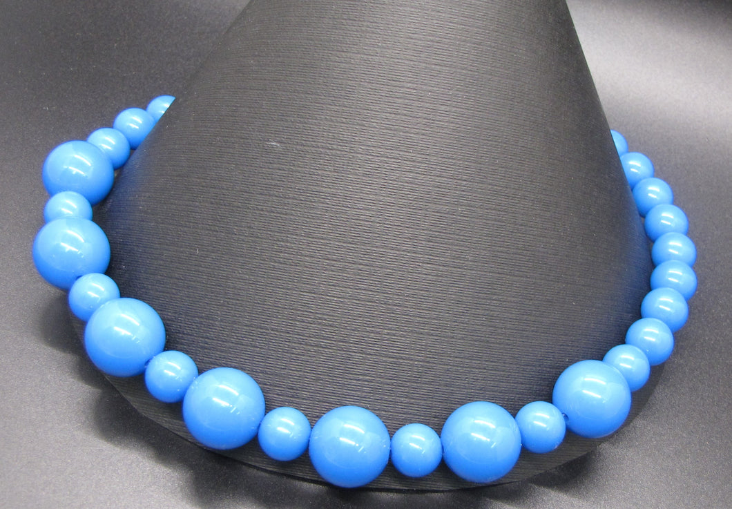 Royal Blue Gumball Beads Statement Necklace