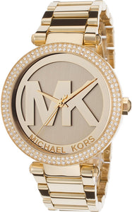Michael Kors MK5784 Parker Champagne Dial Crystals-inlaid Bezel Gold-Tone Stainless Steel Ladies' Watch