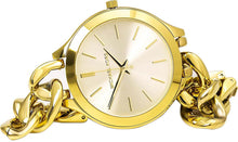Load image into Gallery viewer, Michael Kors Ladies MK3222 Mid-Size Golden Stainless Steel Runway Three-Hand Watch